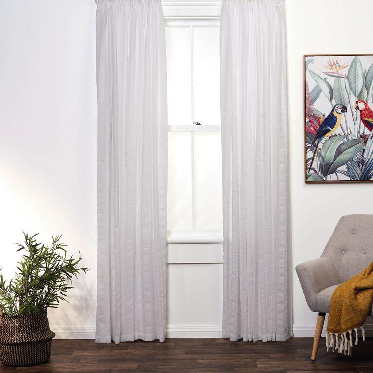 Living & Co Seersucker Voile V1 White 90-180cm x 135cm Drop, White, hi-res