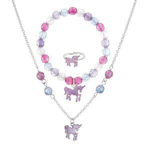 Kids' Beaded Unicorn Ring Bracelet and Necklace Set