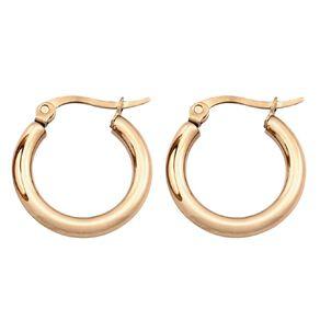 Stainless Steel Rose Gold Plated Hoop Earrings