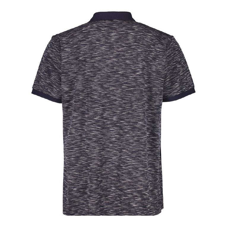 H&H Men's Space Dye Embroidery Polo, Navy, hi-res