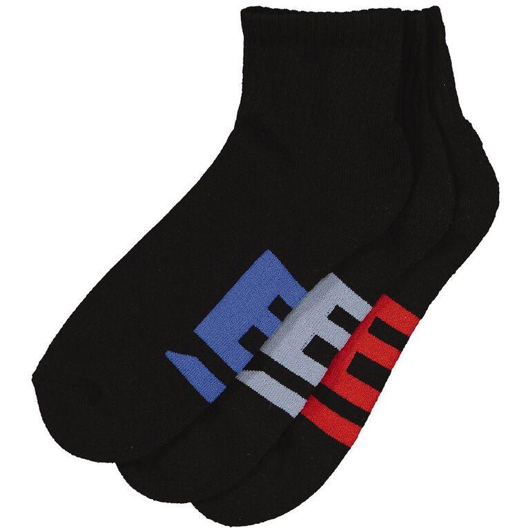 B FOR BONDS Men's Cushioned Quarter Crew Socks 3 Pack, Black CONT 01K, hi-res