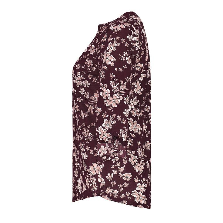 Pickaberry Women's Print Henley Top, Purple Dark, hi-res