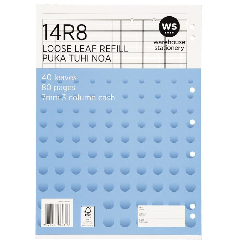 WS Pad Refill 14R8 7mm 3 Column Cash Ruled 40 Leaf Punched, , hi-res