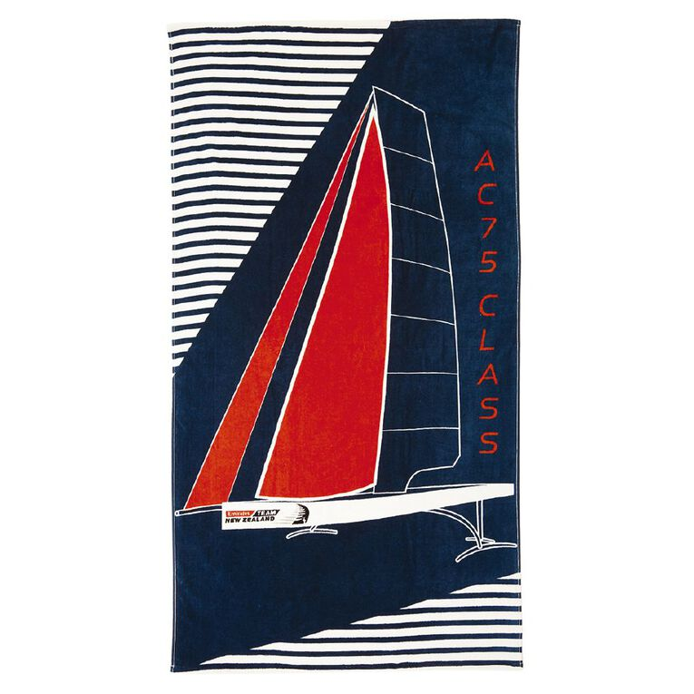 America's Cup Beach Towel Navy 86cm x 160cm, Navy, hi-res