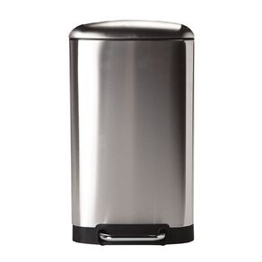 Living & Co Soft Close Pedal Bin Stainless Steel Rectangle Silver 30L