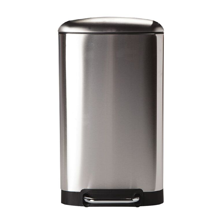 Living & Co Soft Close Pedal Bin Stainless Steel Rectangle Silver 30L, , hi-res
