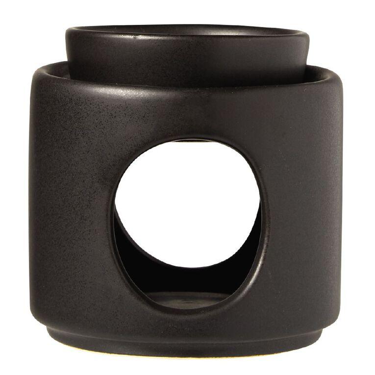 Living & Co Oil Burner Ceramic Black Black 9cm x 9.5cm, , hi-res