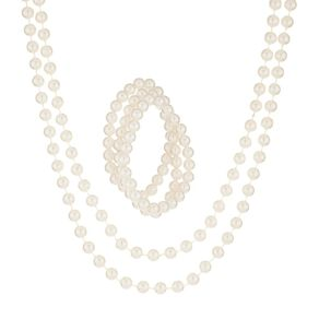 Basics Brand 3 Bracelet & 1 Necklace Pearl Look Set White