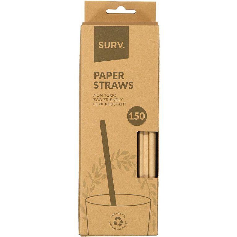 SURV. Eco Friendly Paper Straws 20cm Natural 150 Pack, , hi-res