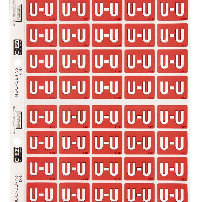 Filecorp Coloured Labels U Red, , hi-res