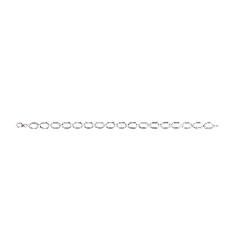 0.10 Carat Diamond Sterling Silver Oval Link Bracelet, , hi-res