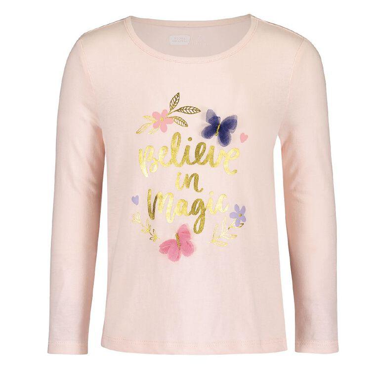 Young Original Girls' Long Sleeve Novelty Tee, Pink Light, hi-res