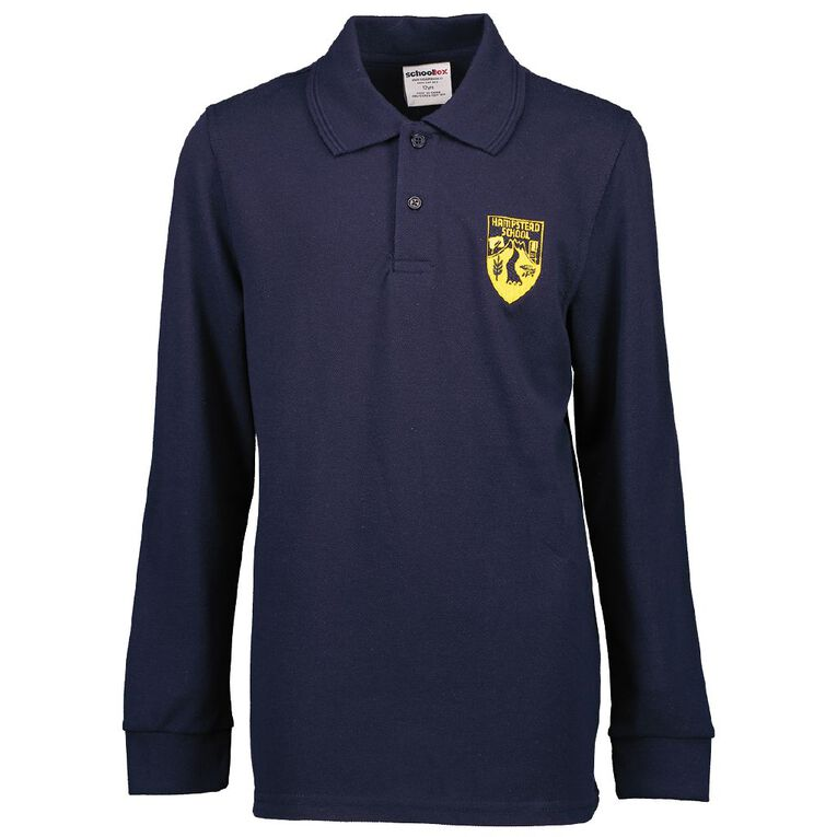 Schooltex Hampstead Long Sleeve Polo with Embroidery, Navy, hi-res