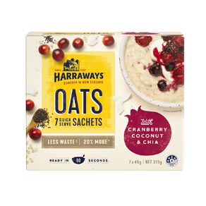 Harraways Chia Coconut Cranberry 7 Sachets 315g