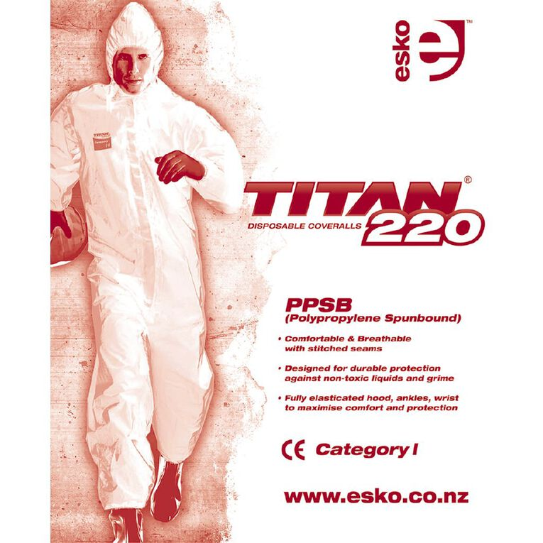 Titan 220 PPSB Disposable Polypropylene Coverall CE CAT 1 White Medium, White, hi-res