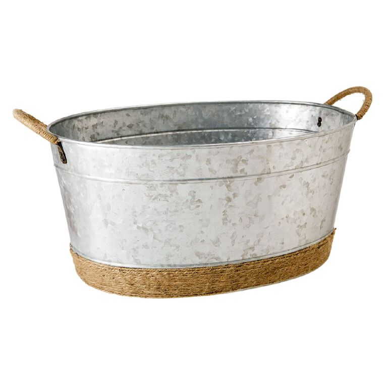 Living & Co Galvanised Drinks Bucket with Rope 48cm x 33cm x 23cm, , hi-res