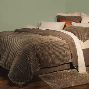 Living & Co Comforter Set Jacquard Plush Sherpa Charcoal