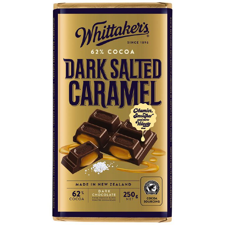 Whittaker's 62% Dark Salted Caramel Chocolate Block 250g, , hi-res