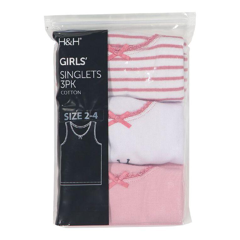 H&H Girls' Singlet 3 Pack, Pink Light, hi-res