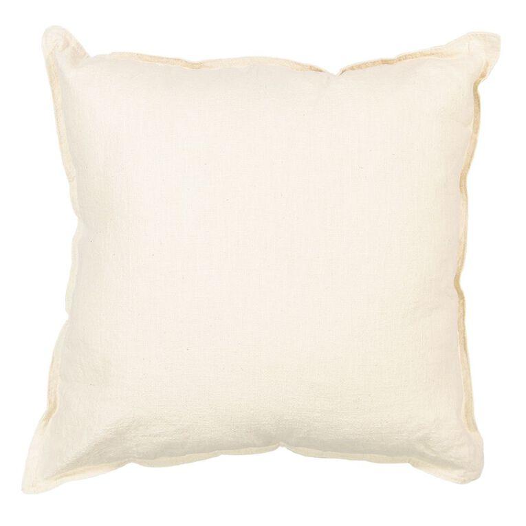 Living & Co Linen Rich Cushion Natural 50cm x 50cm, Natural, hi-res