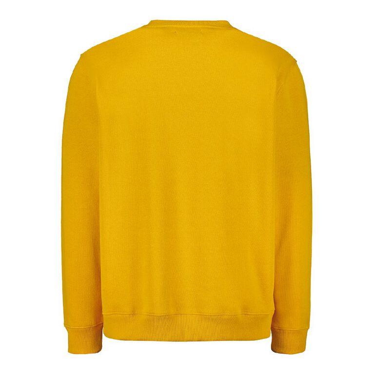 H&H Men's Plain Crew Sweatshirt, Yellow, hi-res