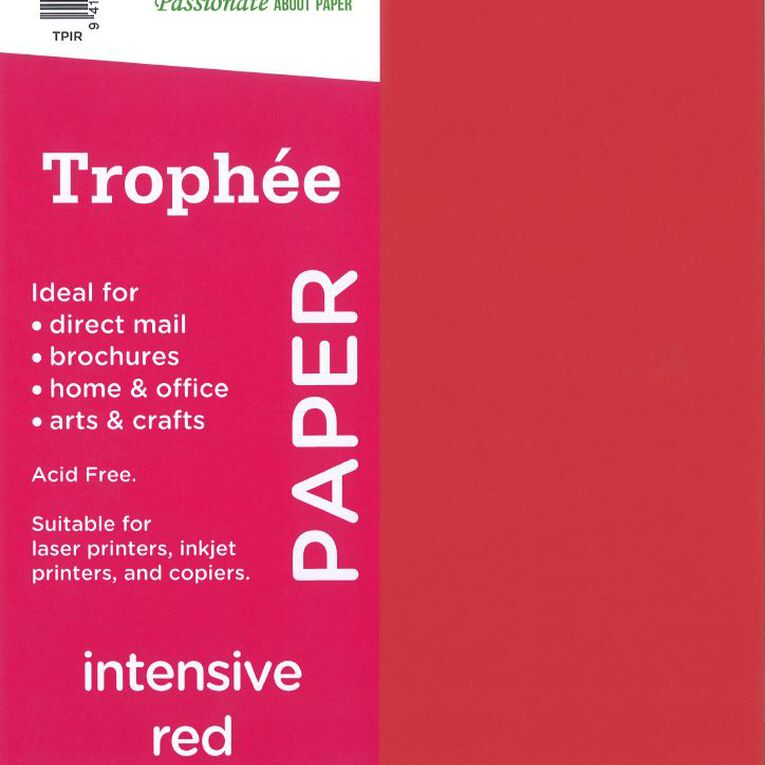 Trophee Paper 80gsm 30 Pack Intensive Red A4, , hi-res