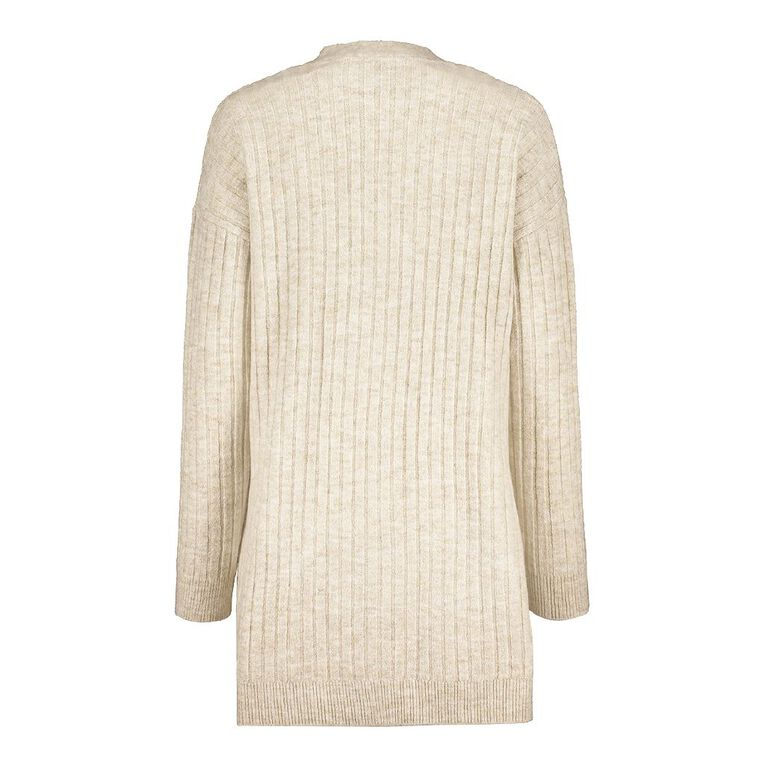 H&H Longline Spongy Knit Cardigan, Beige, hi-res image number null