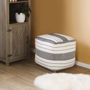 Living & Co Grey & White Striped Pouf