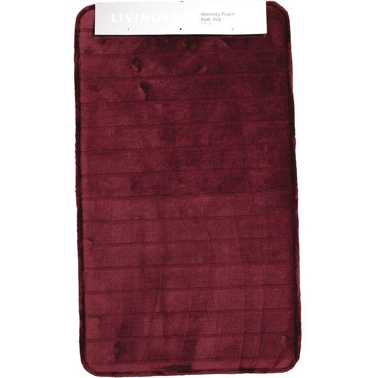 Living & Co Bath Mat Memory Foam Berry Red Dark 45cm x 75cm, Red Dark, hi-res image number null