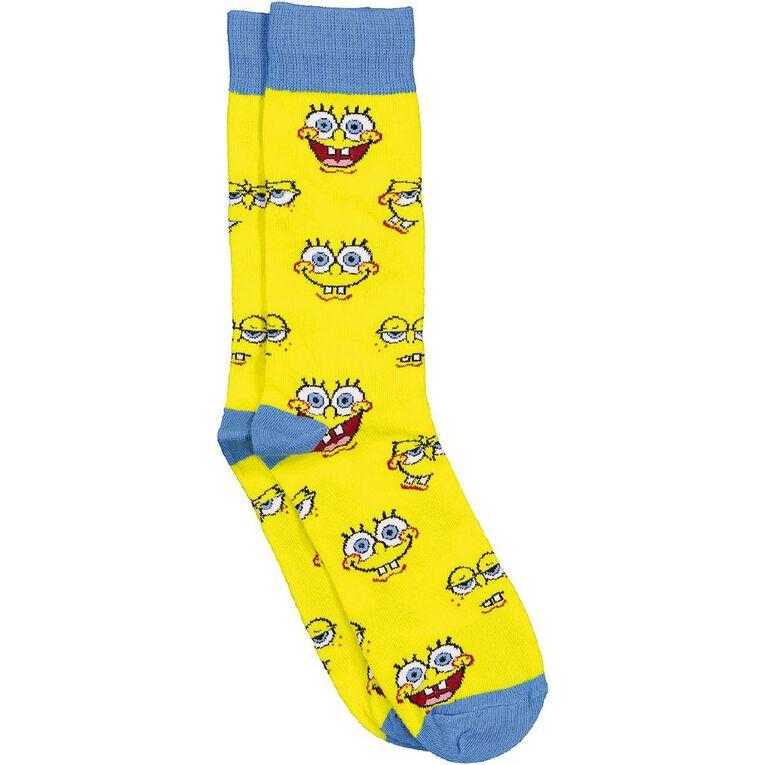 Crazy Socks Men's Crew Socks 1 Pack, Yellow, hi-res