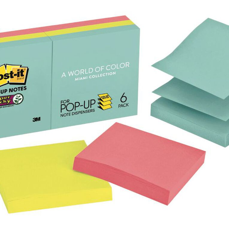 Post-It Super Sticky Pop-Up Notes Miami Collection 6Pads/Pack, , hi-res