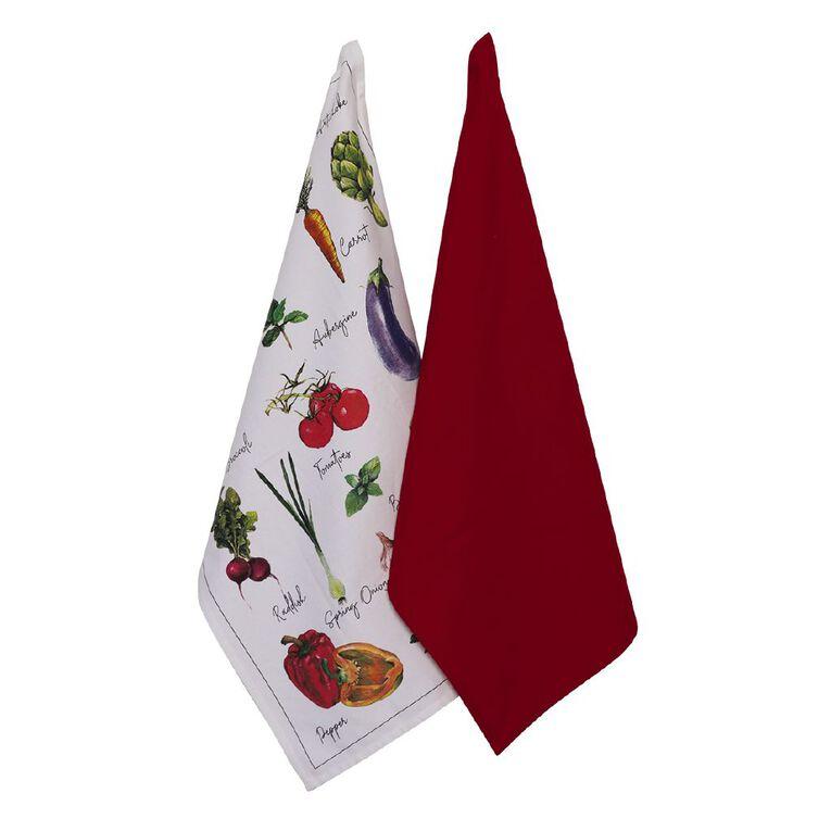 Living & Co Tea Towel Vege Names Set 2 Pack, , hi-res