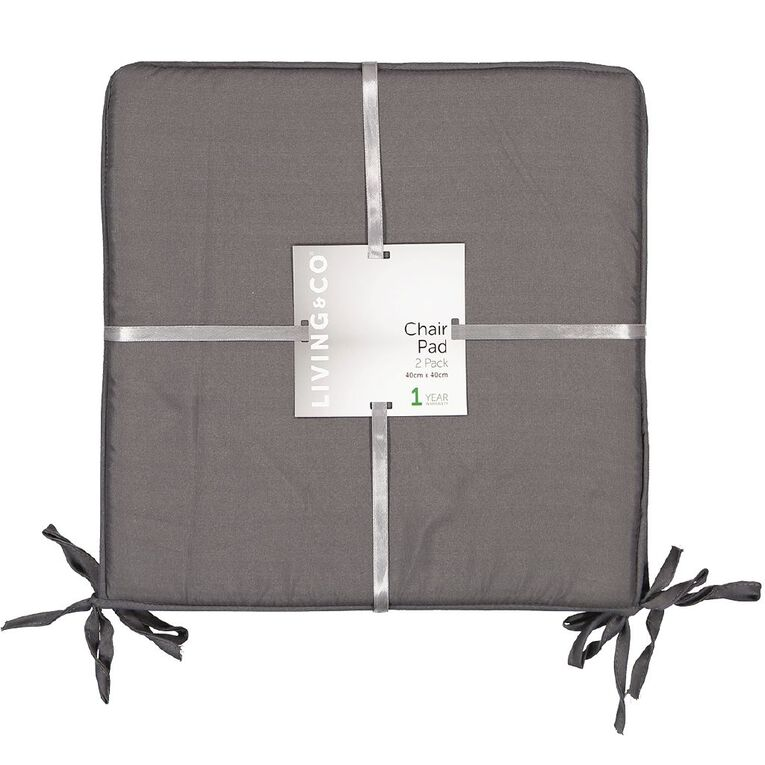 Living & Co Chair Pad 2 Pack Charcoal 40cm x 40cm, Charcoal, hi-res