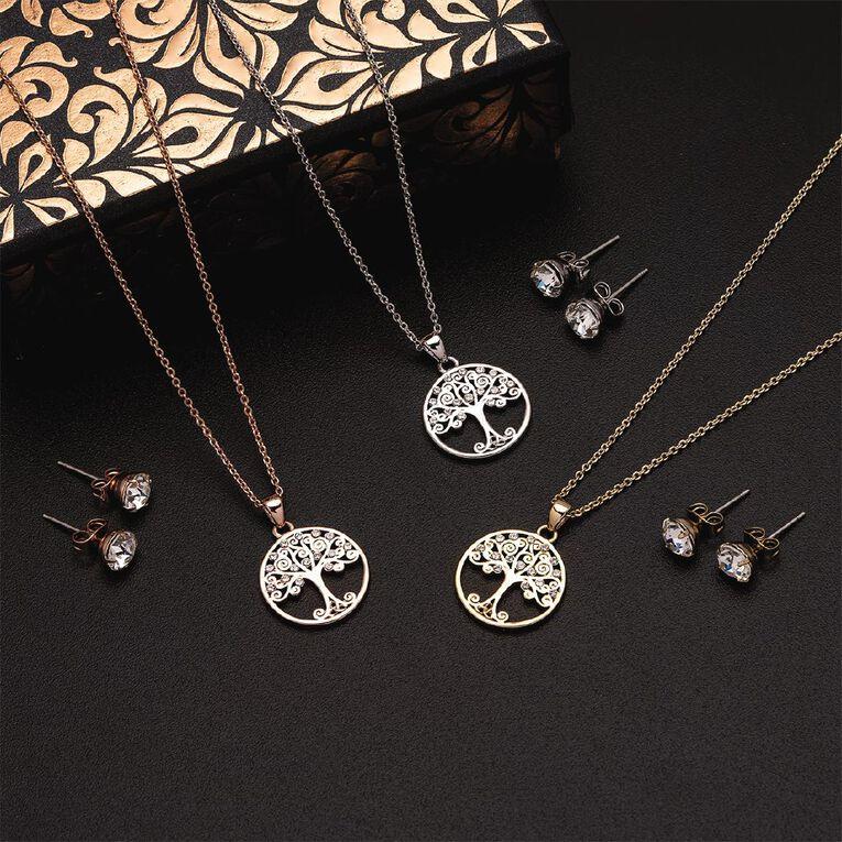 Mestige Swarovski Gold Plated Back to Nature Earrings Necklace Set, , hi-res