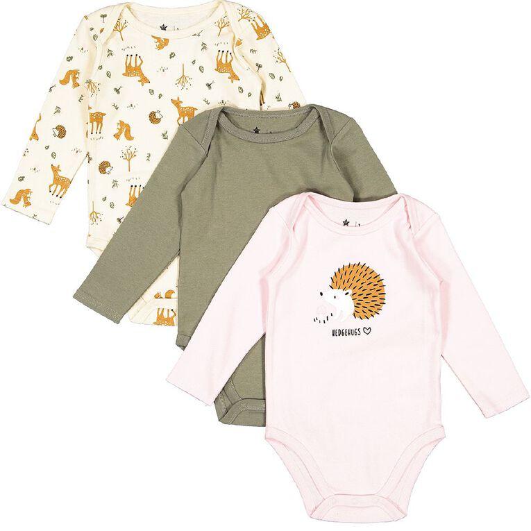 Young Original Baby 3 Pack Long Sleeve Bodysuits, Pink Light HEDGEHOG, hi-res