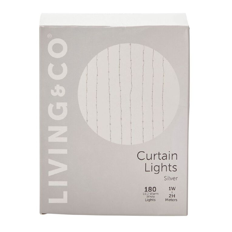 Living & Co Silver Twinkle Curtain Light Silver 2m, , hi-res