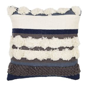 Living & Co Luxe Tufted Circle Cushion Blue/Grey 45cm x 45cm