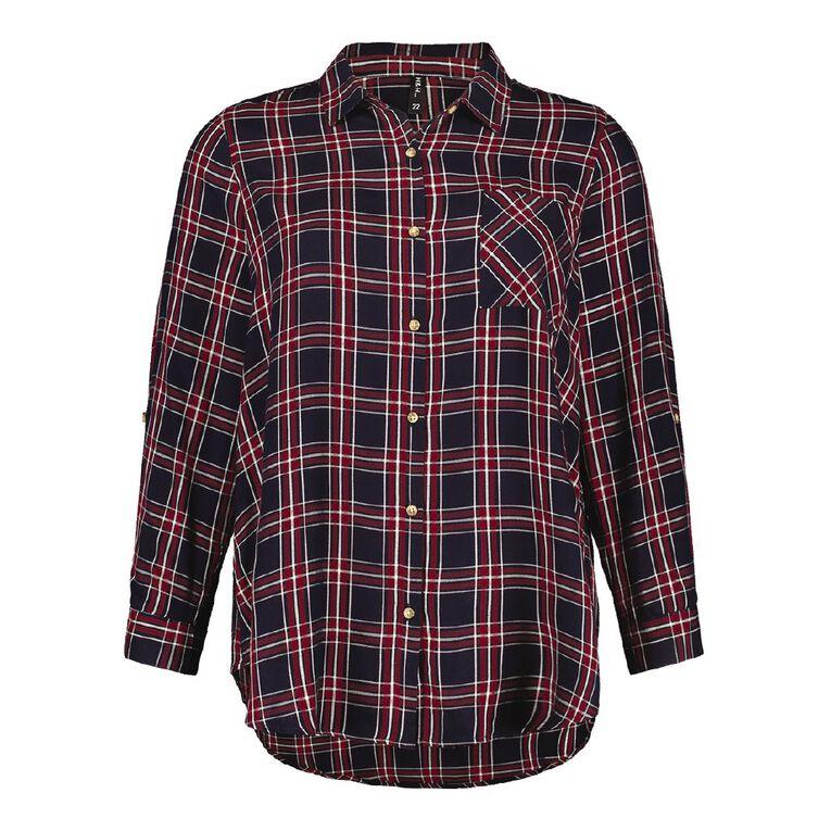 H&H Plus Women's Check Shirt, Navy/Red, hi-res