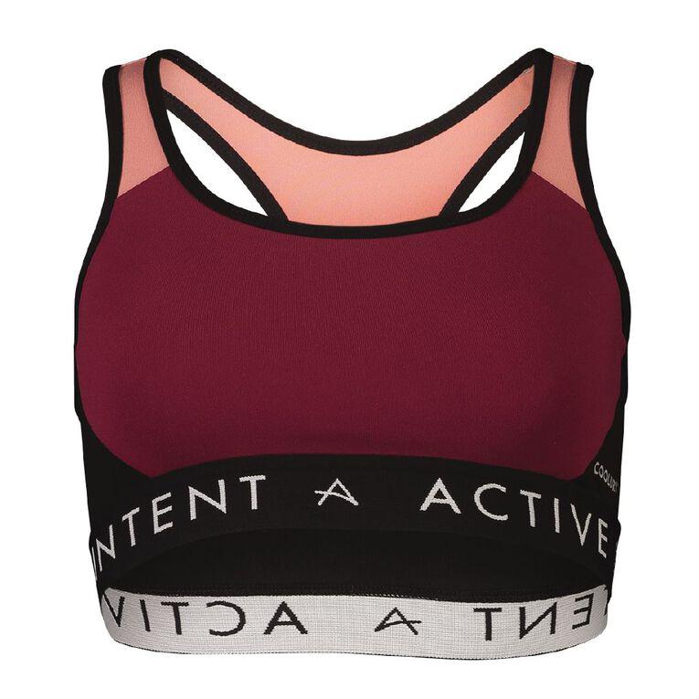 Active Intent Women's Panelled Crop Top, Red Dark, hi-res