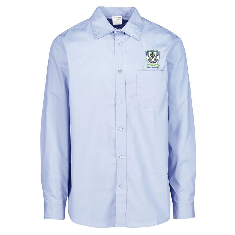 Schooltex Murupara Area Long Sleeve Shirt with Embroidery, Blue, hi-res