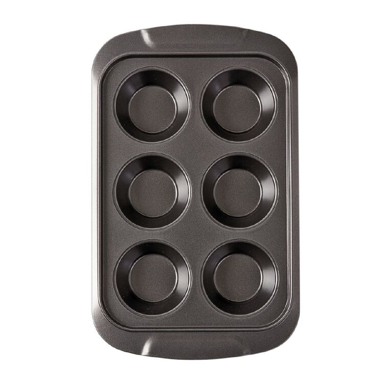 Living & Co Heavy Gauge Non Stick Muffin Tray 6 Cup, , hi-res