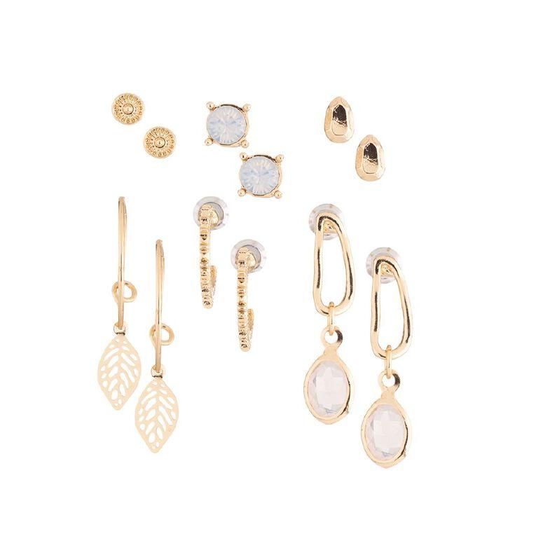 Leaf Hoop Droplet Gold Earring 6 Pairs, , hi-res