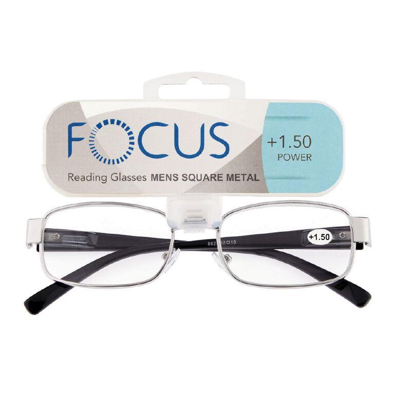 Focus Reading Glasses Men's Square Metal Power 1.50, , hi-res