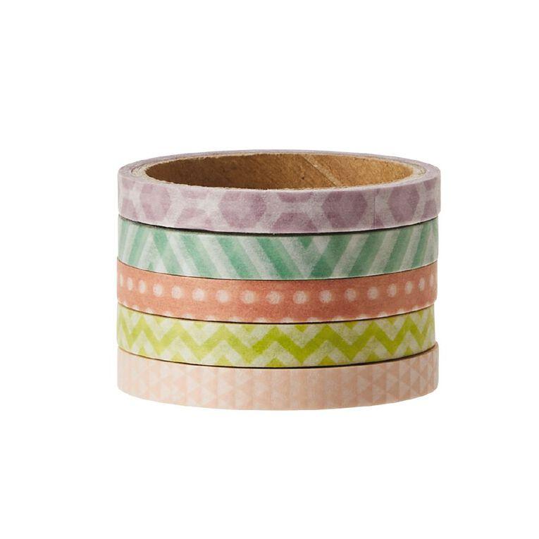 Uniti Washi Tape Thin 5 Pack Pastels, , hi-res