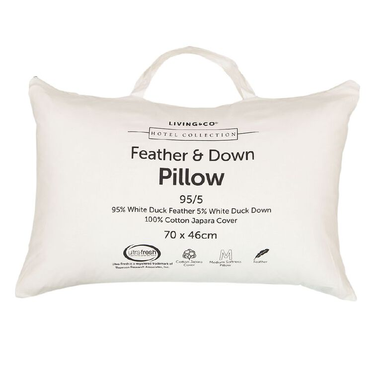 Living & Co Hotel Collection Pillow 95/5 Feather Down White One Size, White, hi-res