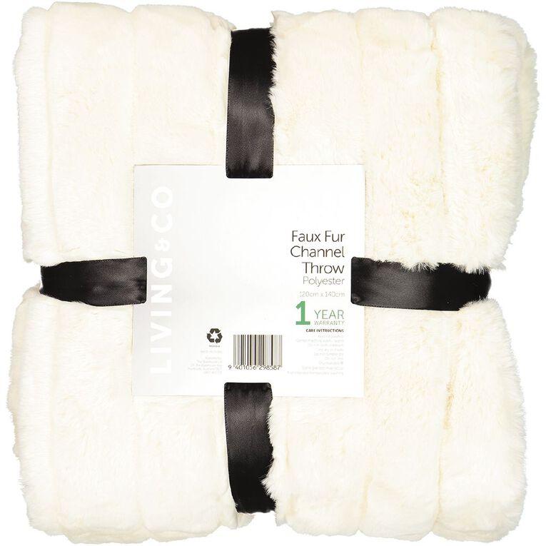 Living & Co Faux Fur Channel Throw Cream 120cm x 140cm, Cream, hi-res