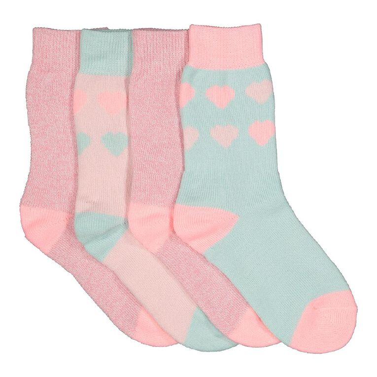 H&H Girls' Home Socks 4 Pack, Pink Light, hi-res