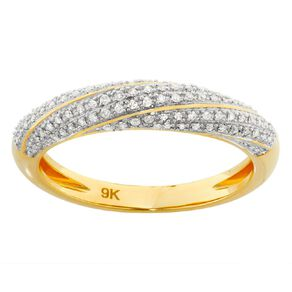0.15 Carat Diamond 9ct Yellow Gold Twisted Band Dress Ring