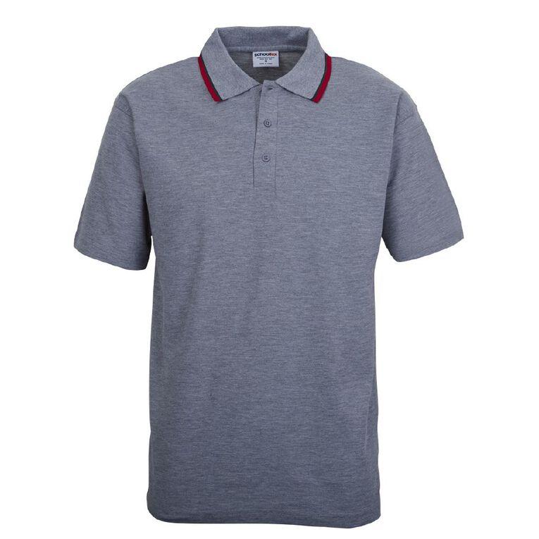 Schooltex Short Sleeve Polo with Stripe Collar, Grey Marle, hi-res