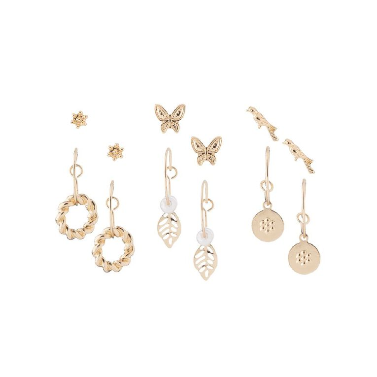 Butterfly Bird Leaf Gold Earring 6 Pairs, , hi-res